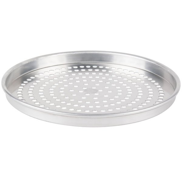 """American Metalcraft SPHA4014 14"""" x 1"""" Super Perforated Heavy Weight Aluminum Straight Sided Pizza Pan"""