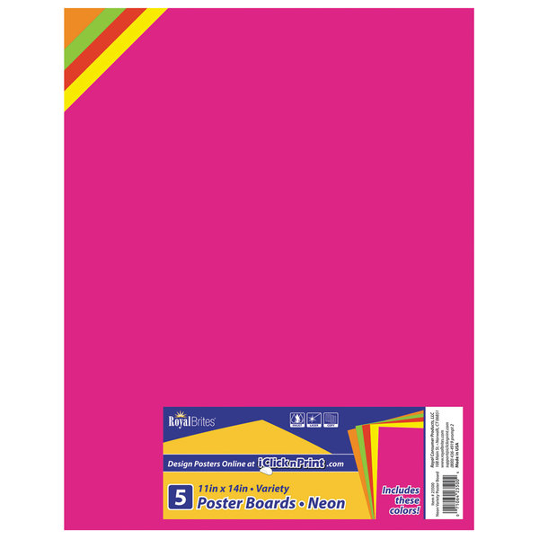 "Royal Brites 23500 11"" x 14"" Assorted Neon Poster Board - 5/Pack"