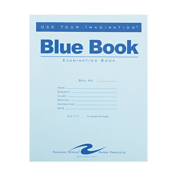 """Roaring Spring 77510 7"""" x 8 1/2"""" Wide Ruled 8 Page Exam Book with Blue Cover Main Image 1"""