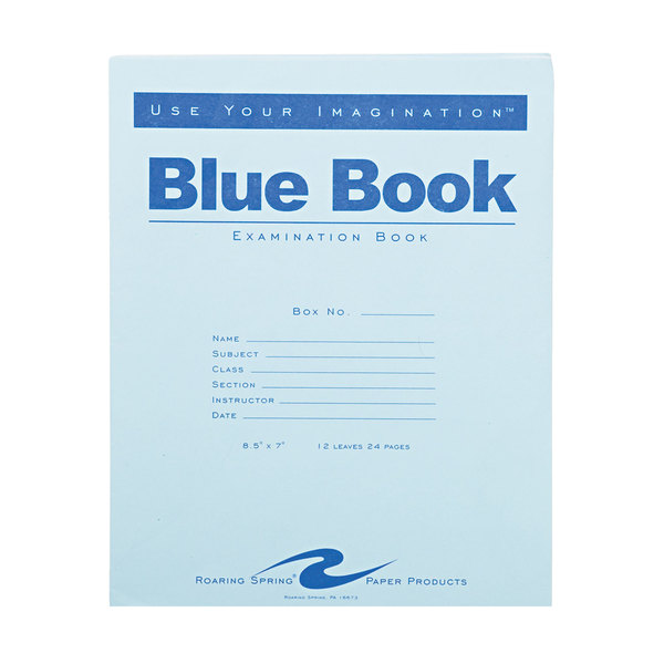 """Roaring Spring 77513 7"""" x 8 1/2"""" Wide Ruled 24 Page Exam Book with Blue Cover Main Image 1"""