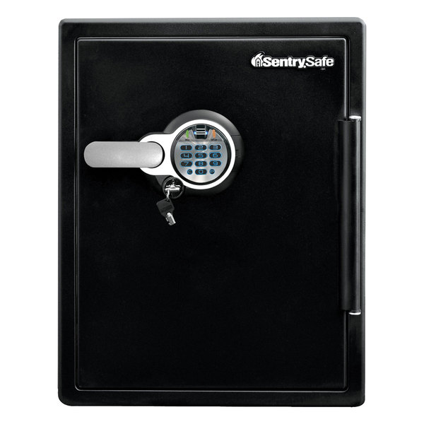 SentrySafe SFW205BPC Black 1 Hour Fire and Water Safe with Biometric Fingerprint Lock and Keypad - 2 Cu. Ft.