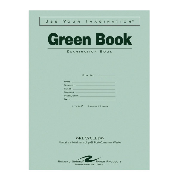 """Roaring Spring 77509 8 1/2"""" x 11"""" Wide Ruled 16 Page Exam Book with Green Cover Main Image 1"""