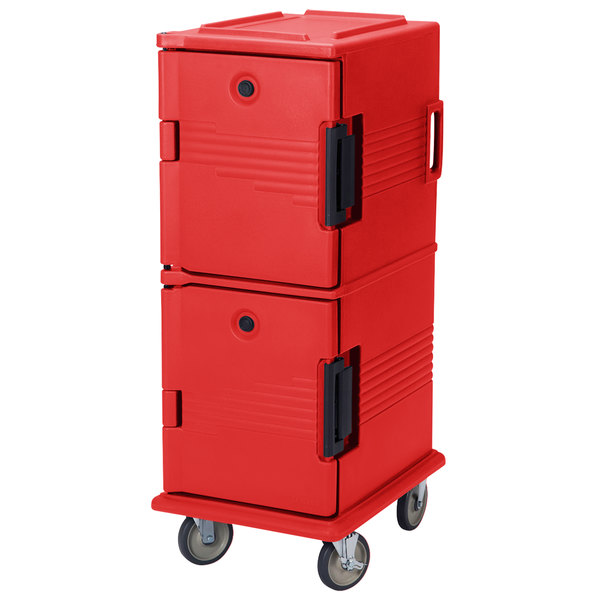 Cambro UPC800SP158 Ultra Camcarts® Hot Red Insulated Food Pan Carrier with Heavy-Duty Casters and Security Package - Holds 12 Pans Main Image 1