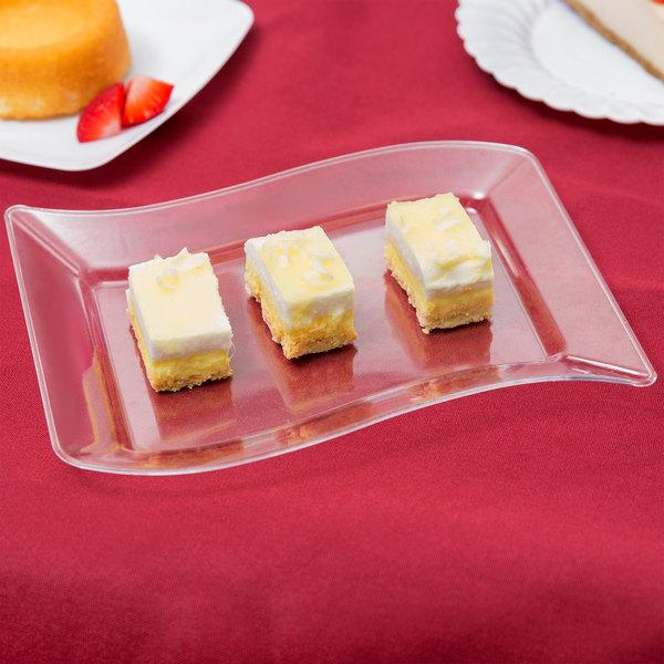 "Fineline Wavetrends 1405-CL 5 1/2"" x 7 1/2"" Clear Plastic Dessert Plate - 10/Pack"