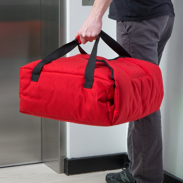 "Cambro GBPP216521 Insulated Red Premium Pizza Delivery GoBag™ - Holds up to (2) 16"" or (3) 14"" Pizza Boxes"