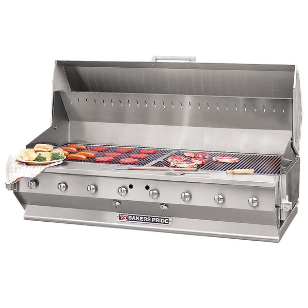 """Bakers Pride CBBQ-60S-BI Liquid Propane 60"""" Ultimate Built-In Gas Outdoor Charbroiler with Grill Cover"""