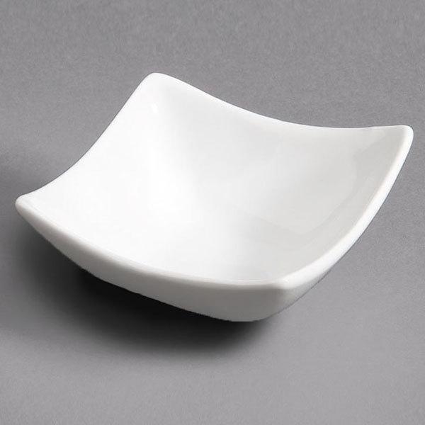 CAC SHA-Q4 Sushia 1.5 oz. Super White Square Porcelain Dish - 48/Case Main Image 1