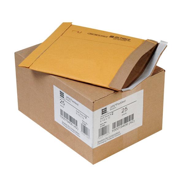 "Jiffy 64775 8 1/2"" x 12"" Padded Peel & Seal #2 Natural Kraft Mailer - 25/Case Main Image 1"