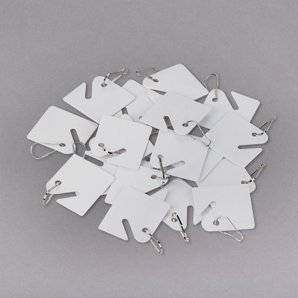 """SecurIT 04983 1 5/8"""" x 1 1/2"""" White Replacement Slotted Key Cabinet Tag - 20/Pack Main Image 1"""