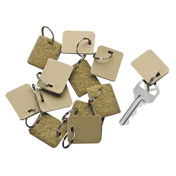"SecurIT 04985 1 1/8"" x 1"" Beige Blank Hook and Loop Security-Backed Key Tag - 12/Pack Main Image 1"