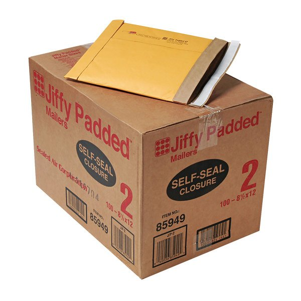 "Jiffy 67068 8 1/2"" x 12"" Padded Peel & Seal #2 Natural Kraft Mailer - 100/Case Main Image 1"