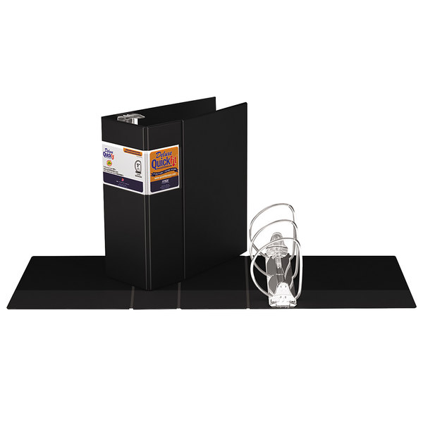 """Stride 29071 QuickFit 8 1/2"""" x 11"""" Black Binder with 5"""" D-Rings"""