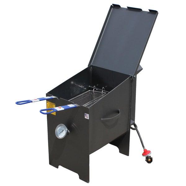 R & V Works FF2S 6 Gallon Liquid Propane Outdoor Cajun Deep Fryer - 90,000 BTU Main Image 1
