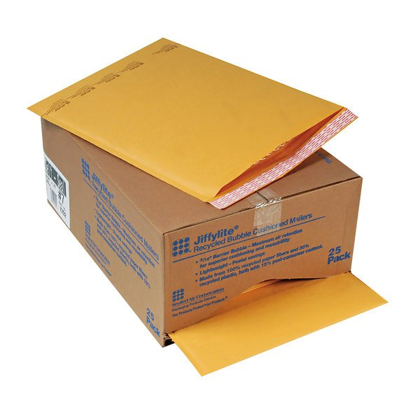 """Jiffylite 10192 14 1/4"""" x 20"""" Self Seal #7 Kraft Mailer - 25/Case Main Image 1"""