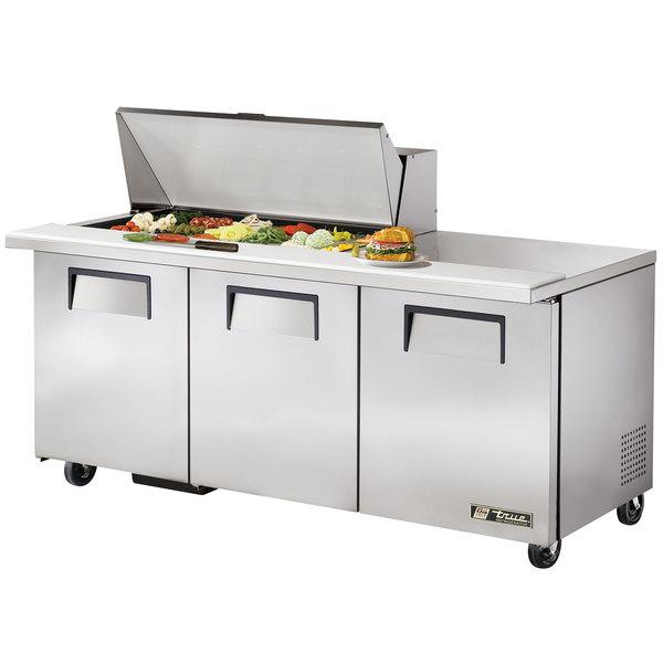 "True TSSU-72-18M-B 72"" 3 Door Mega Top Refrigerated Sandwich Prep Table"