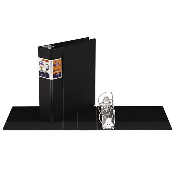 """Stride 29051 QuickFit 8 1/2"""" x 11"""" Black Binder with 3"""" D-Rings"""
