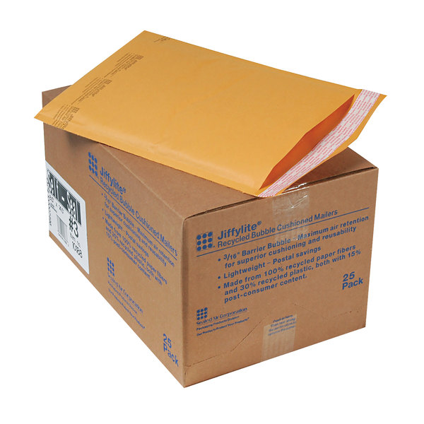"""Jiffylite 10188 14 1/2"""" x 8 1/2"""" Self Seal #3 Kraft Mailer - 25/Case Main Image 1"""