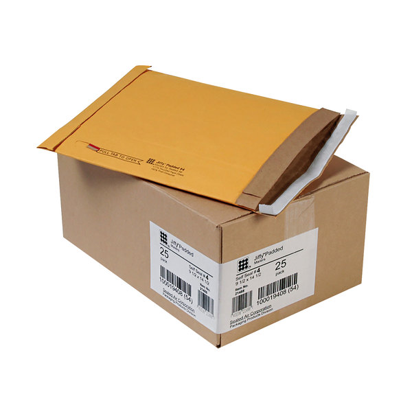 "Jiffy 64937 9 1/2"" x 14 1/2"" Padded Peel & Seal #4 Natural Kraft Mailer - 25/Case Main Image 1"