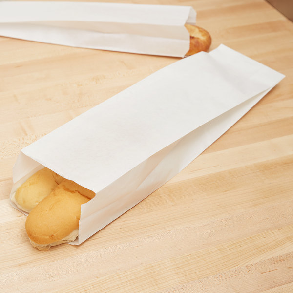 "5 1/4"" x 3 1/4"" x 20"" Plain Unwaxed White Paper Bread Bag - 1000/Case"