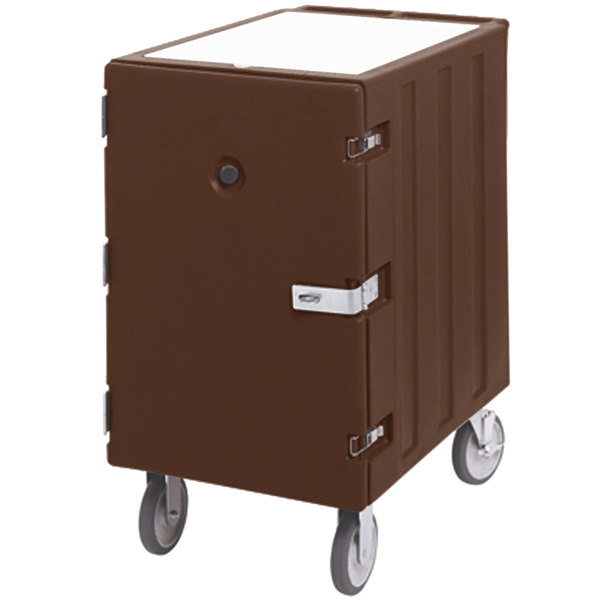 "Cambro 1826LBCSP131 Camcart Dark Brown Single Compartment Mobile Cart for 18"" x 26"" Food Storage Boxes - With Security Package"