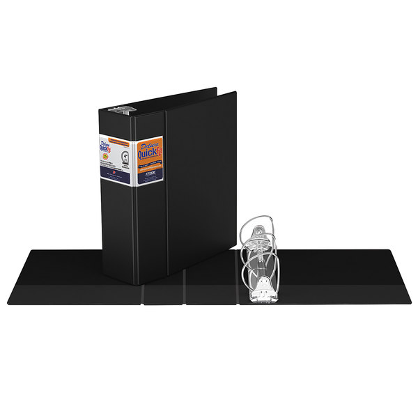 "Stride 29061 QuickFit 8 1/2"" x 11"" Black Binder with 4"" D-Rings"