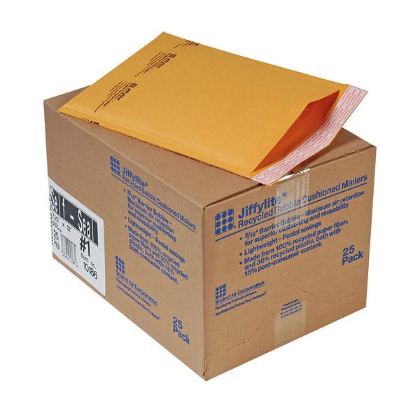 """Jiffylite 10186 12"""" x 7 1/4"""" Self Seal #1 Kraft Mailer - 25/Case Main Image 1"""