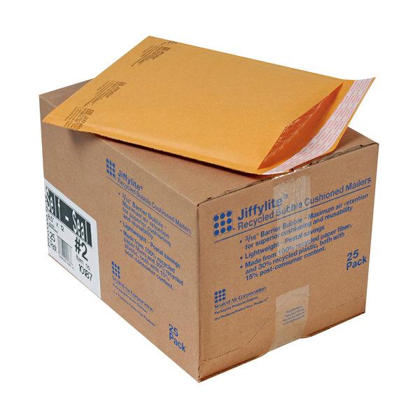 """Jiffylite 10187 12"""" x 8 1/2"""" Self Seal #2 Kraft Mailer - 25/Case Main Image 1"""
