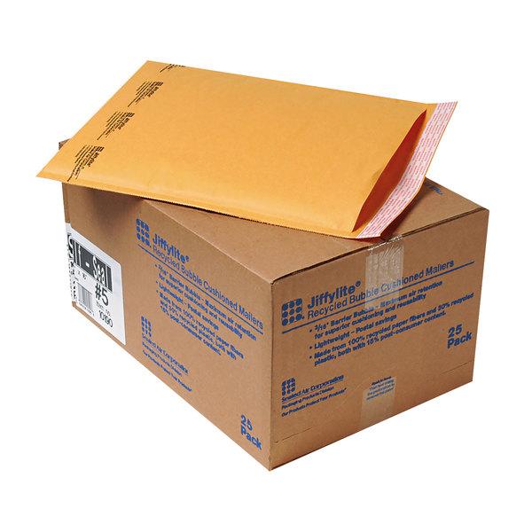 """Jiffylite 10190 16"""" x 10 1/2"""" Self Seal #5 Kraft Mailer - 25/Case Main Image 1"""