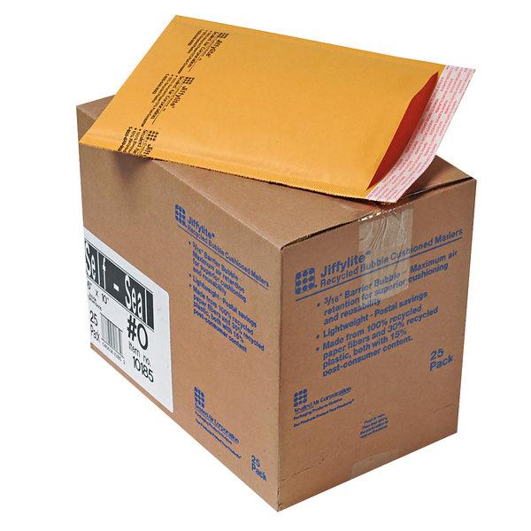 """Jiffylite 10185 10"""" x 6"""" Self Seal #0 Kraft Mailer - 25/Case Main Image 1"""