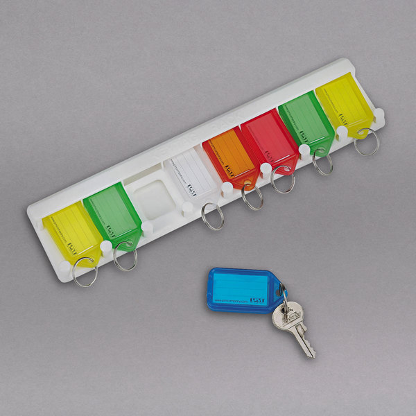 """SecurIT 04991 10 1/2"""" x 2 1/2"""" x 1/4"""" White Plastic 8 Key Color-Coded Key Tag Rack with 8 Tags Main Image 1"""