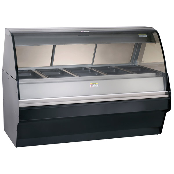 Alto-Shaam TY2SYS-72/PR BK Black Heated Display Case with Curved Glass and Base - Right Self Service 72""
