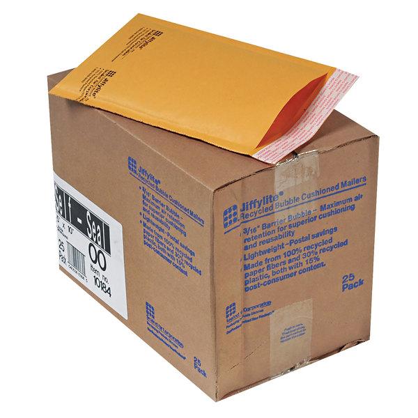 """Jiffylite 10184 10"""" x 5"""" Self Seal #00 Kraft Mailer - 25/Case Main Image 1"""