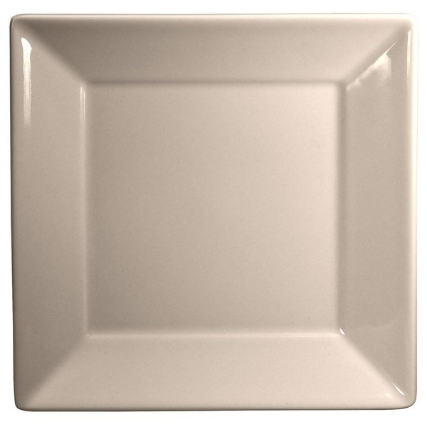 """Homer Laughlin 8300 Times Square 8 1/2"""" Ivory (American White) Square China Plate - 12/Case"""