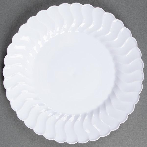 Fineline Flairware White 206-WH 6 inch Plastic Plate 180 / Case