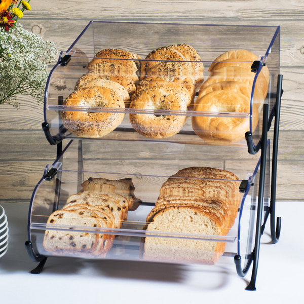 "Cal-Mil 1280-2 Two Tier Black Wire Pastry Display - 15 1/2"" x 17 3/4"" x 17 1/2"""