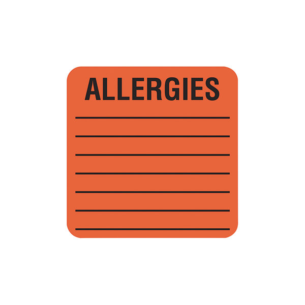 """Tabbies 40560 2"""" x 2"""" Orange Medical Label For Allergies - 500/Roll Main Image 1"""