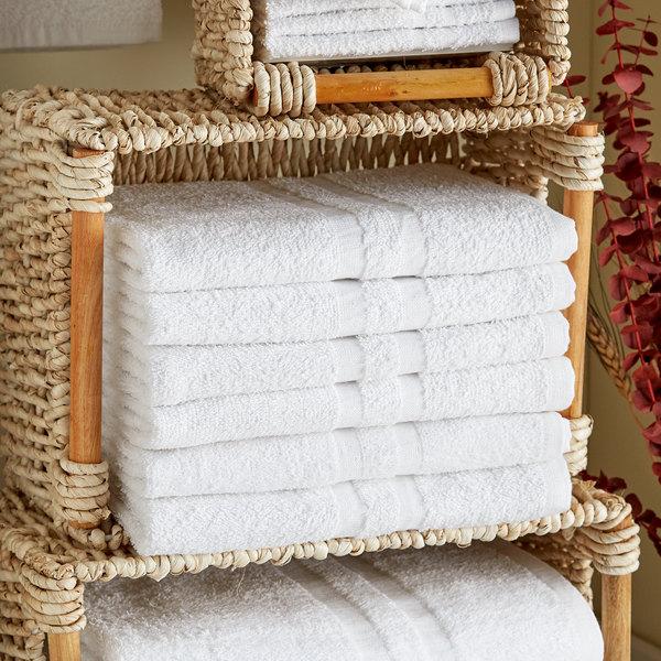 "Lavex Lodging Standard 22"" x 44"" Cotton/Poly Bath Towel 6 lb. - 12/Pack"