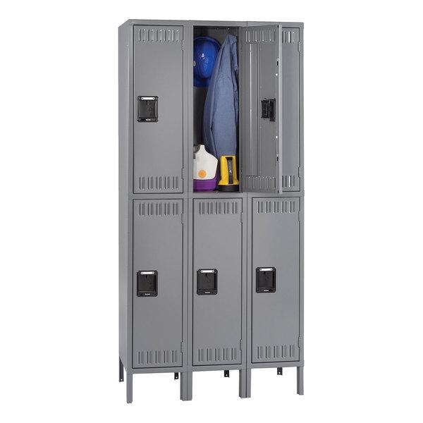 """Tennsco DTS1218363MG Triple Stack Double Tier Gray Steel Locker with Legs - 36"""" x 18"""""""