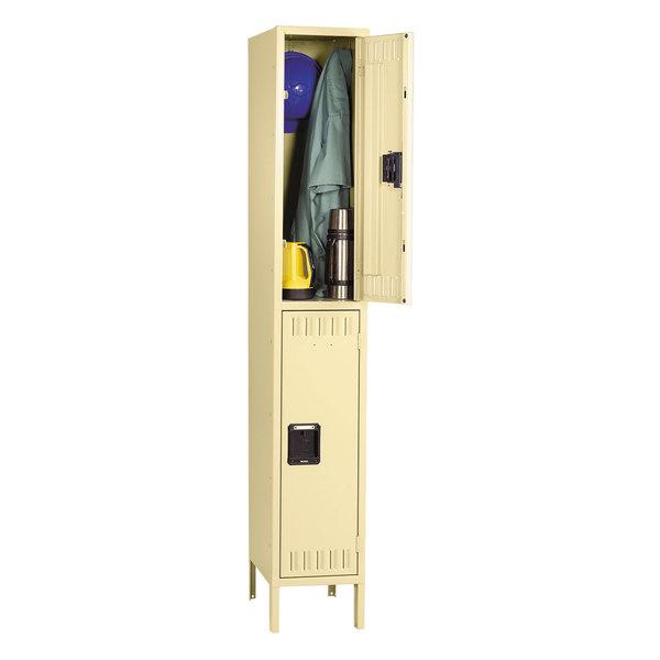 "Tennsco DTS1218361SD Single Stack Double Tier Sand Steel Locker with Legs - 12"" x 18"""