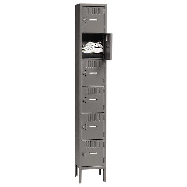 """Tennsco BS61218121MG Single Stack Six Door Gray Steel Locker with Legs - 12"""" x 18"""""""