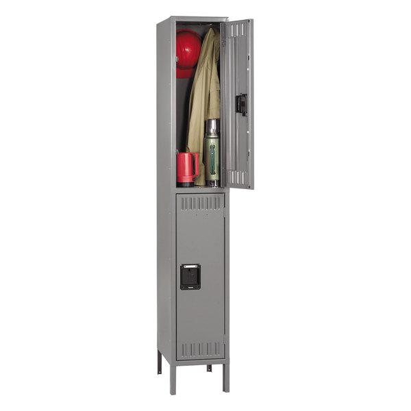 "Tennsco DTS1218361MG Single Stack Double Tier Gray Steel Locker with Legs - 12"" x 18"""