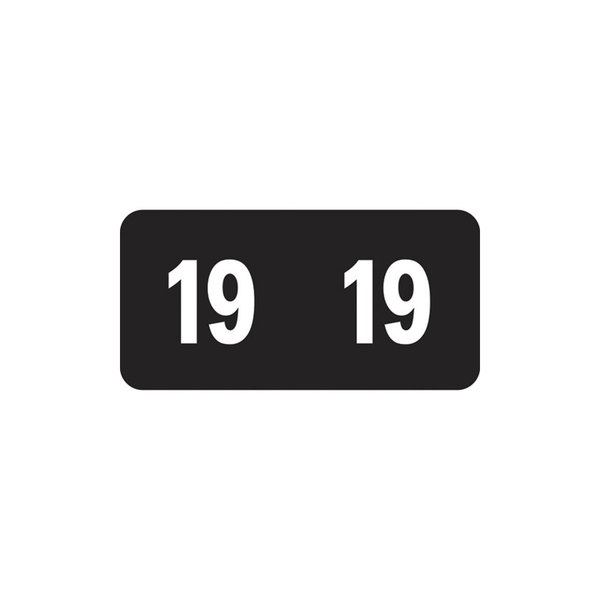 """Smead 67919 1/2"""" x 1"""" Black and White Year 2019 End Tab Folder Label - 250/Pack"""