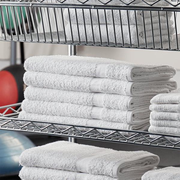 "Lavex Lodging Economy 24"" x 48"" 100% Cotton Bath Towel 8 lb. - 12/Pack Main Image 3"