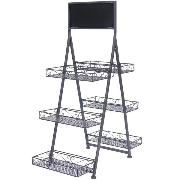 best loved b96b7 f4486 Metal 3 Tier Folding Step Ladder Tray Display with Chalkboard - 28