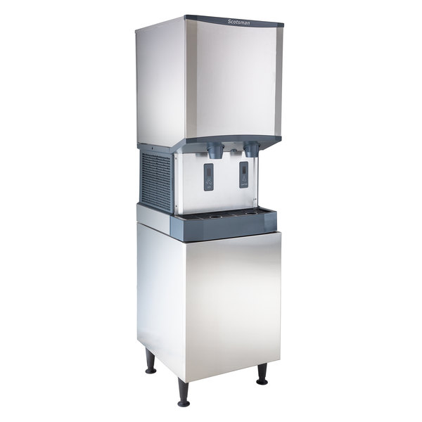 Scotsman HID540A-1 Meridian 21 1/4 inch Air Cooled Nugget Ice Machine with 40 lb. Bin, Water Dispenser, and Equipment Stand - 115V, 500 lb.