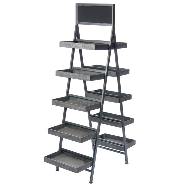 official photos 81ec0 c7ba7 Galvanized Metal Finish 5 Tier Folding Step Ladder Tray Display with  Chalkboard 34 1/4