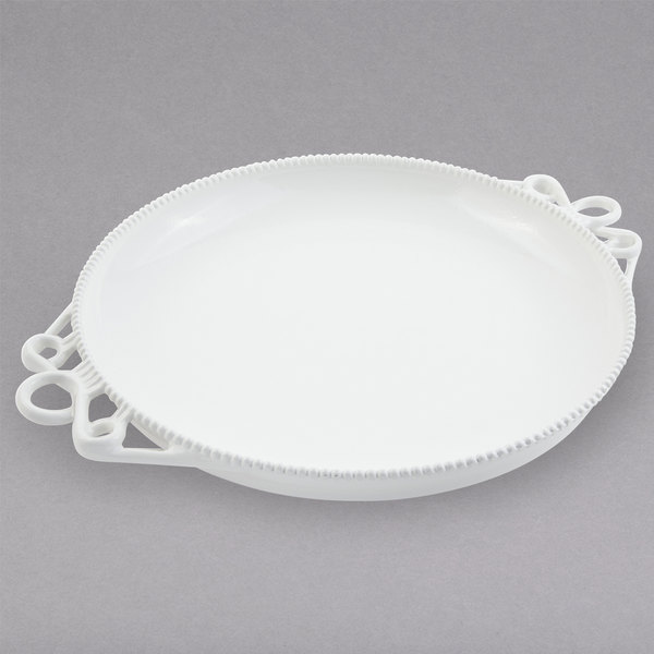 "Bon Chef 2107PWHT Bolero 16"" White Sandstone Finish Cast Aluminum Platter Main Image 1"