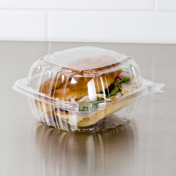 """Dart C57PST1 6"""" x 5 13/16"""" x 3"""" ClearSeal Hinged Lid Plastic Container - 125/Pack"""