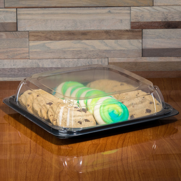"Sabert C9611 UltraStack 11"" Square Disposable Deli Platter / Catering Tray with High Dome Lid - 25/Case"
