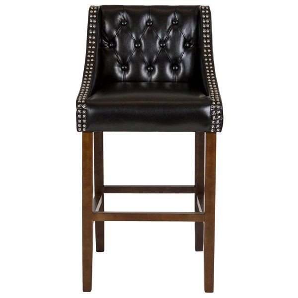 Fabulous Flash Furniture Ch 182020 T 30 Bk Gg Carmel Series Black Tufted Leather Bar Stool With Walnut Frame And Nail Trim Accents Lamtechconsult Wood Chair Design Ideas Lamtechconsultcom